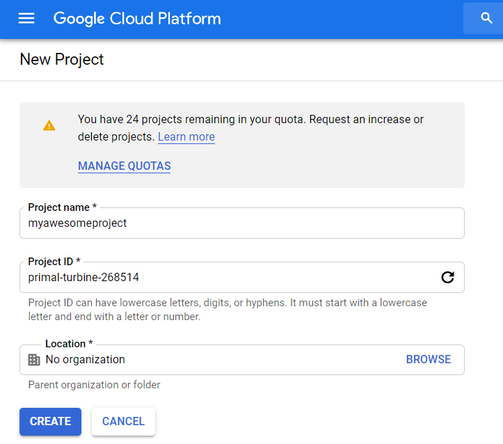 Create a new GCP project