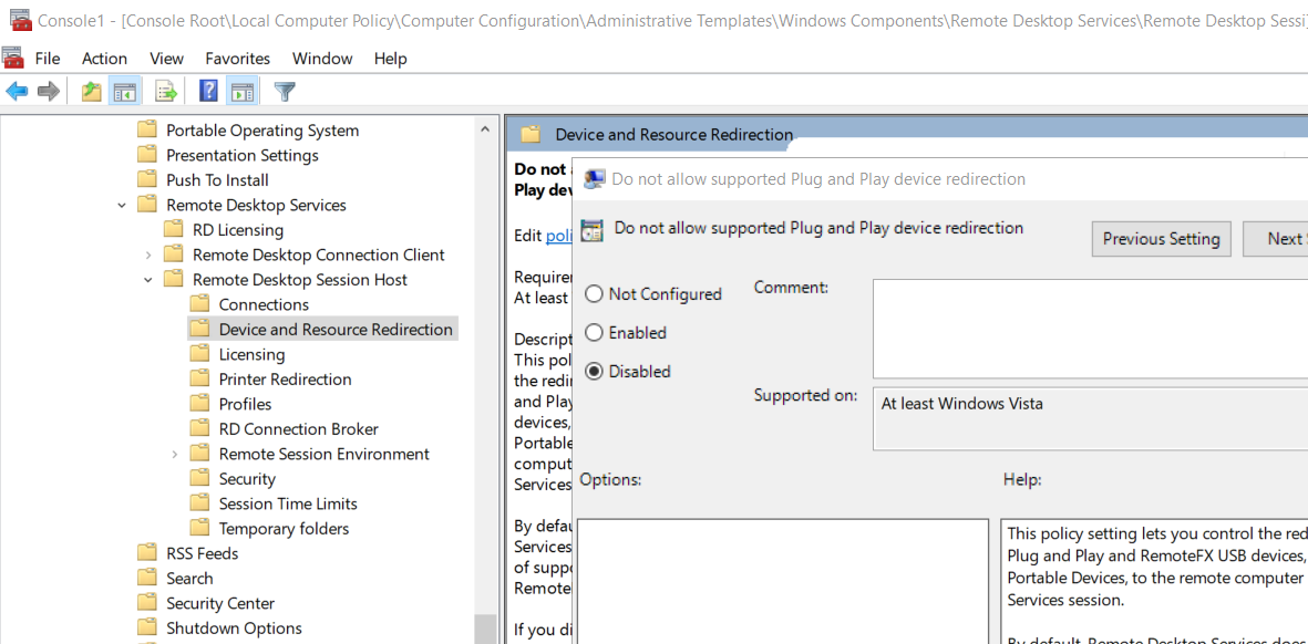 RemoteFX USB Device Redirection Server Policy
